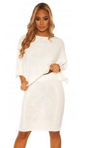 Sexy Koucla Set short jumper & skirt w. pattern White