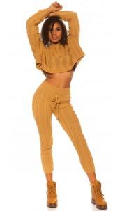 Sexy KouCla rough knit set short jumper + pants Beige