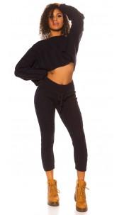 Sexy KouCla rough knit set short jumper + pants Navy