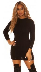 Sexy KouCla roundneck longsleeve knit dress Black