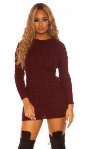 Sexy KouCla roundneck longsleeve knit dress Bordeaux