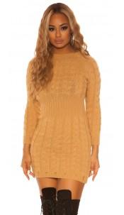 Sexy KouCla roundneck longsleeve knit dress Caramel