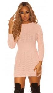 Sexy KouCla roundneck longsleeve knit dress Pink