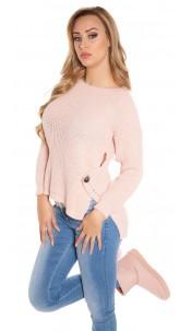 Trendy Koucla-High/Low-jumper with round-neck Antiquepink