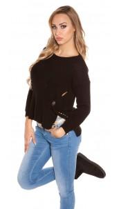 Trendy Koucla-High/Low-jumper with round-neck Black