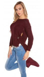 Trendy Koucla-High/Low-jumper with round-neck Bordeaux