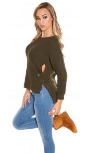 Trendy Koucla-High/Low-jumper with round-neck Khaki