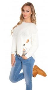 Trendy Koucla-High/Low-jumper with round-neck White