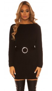 Sexy KouCla rough knit dress WITH belt Black