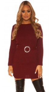 Sexy KouCla rough knit dress WITH belt Bordeaux