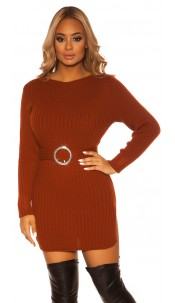 Sexy KouCla rough knit dress WITH belt Bronze