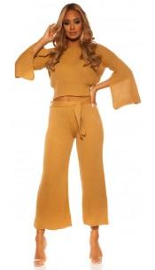 Sexy KouCla Set short jumper /pants WITH belt Beige
