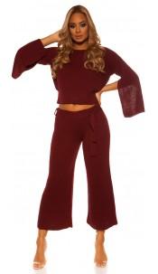 Sexy KouCla Set short jumper /pants WITH belt Bordeaux