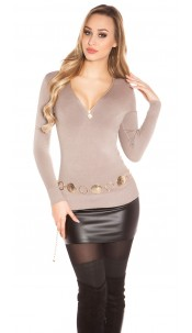 Sexy Basic V-Pulli with Zip Cappuccino