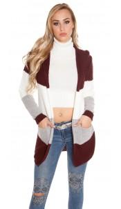 Trendy KouCla hooded cardigan striped Bordeaux