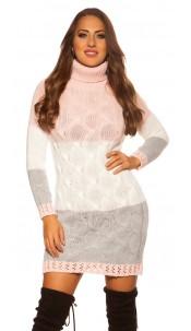 Trendy KouCla turtleneck mini dress cable stitch Pink