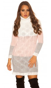 Trendy KouCla turtleneck mini dress cable stitch White