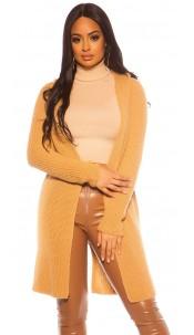 Sexy KouCla chunky knit cardigan with hood Beige