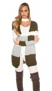 Trendy KouCla hooded cardigan striped Khaki
