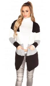 Trendy KouCla striped cardigan WITHOUT hoodie Black
