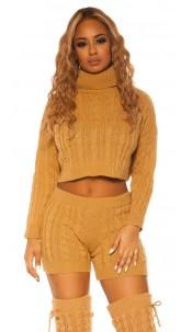 Sexy KouCla Set knit turtleneck jumper & shorts Beige