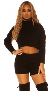 Sexy KouCla Set knit turtleneck jumper & shorts Black