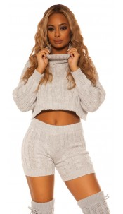 Sexy KouCla Set knit turtleneck jumper & shorts Grey
