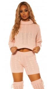 Sexy KouCla Set knit turtleneck jumper & shorts Pink