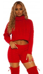 Sexy KouCla Set knit turtleneck jumper & shorts Red
