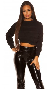Sexy crop chunky knit pullover Black