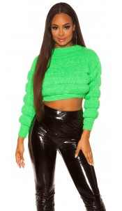 Sexy crop chunky knit pullover Neongreen