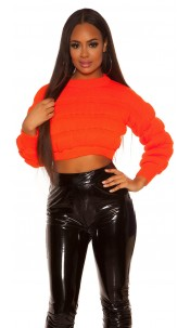 Sexy crop chunky knit pullover Neonorange