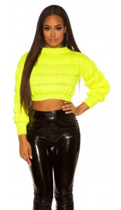 Sexy crop chunky knit pullover Neonyellow