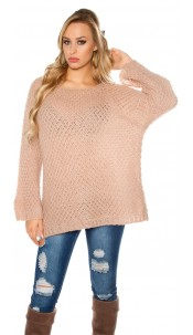 Trendy oversize mohair sweater crochet look Antiquepink