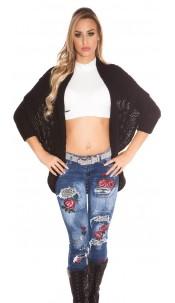 Trendy KouCla cardigan / bolero with XL collar Black