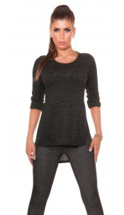 Trendy front short, back long shirt with sexy cuts Black