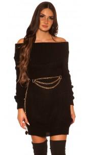 Trendy KouCla turtleneck knitdress Black