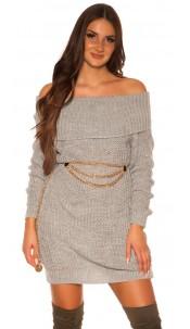 Trendy KouCla turtleneck knitdress Grey