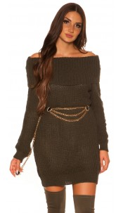 Trendy KouCla turtleneck knitdress Khaki