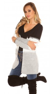 Trendy KouCla hooded cardigan striped Black