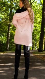 Sexy KouCla chunky knit cardigan with hood Pink