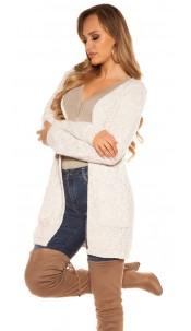 Trendy KouCla Chunky knit Cardigan Beige