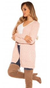 Trendy KouCla Chunky knit Cardigan Pink
