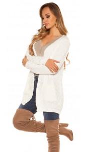 Trendy KouCla Chunky knit Cardigan White