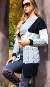 Trendy KouCla cable knit cardigan Black