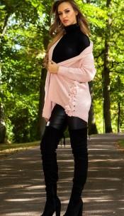 Sexy cardigan met veter roze