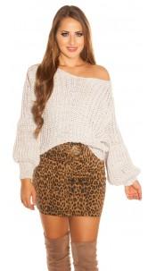 Sexy KouCla oversize chunky knit sweater Beige
