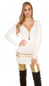 Sexy Longpullover/Minidress w. golden stripes White