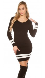 Sexy knit Minidress ribbed and striped Black