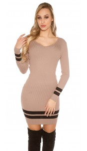 Sexy knit Minidress ribbed and striped Cappuccino